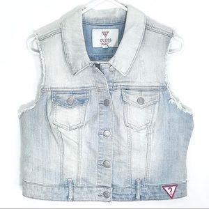 Guess Vintage 80's Cropped Denim Jean Jacket Vest